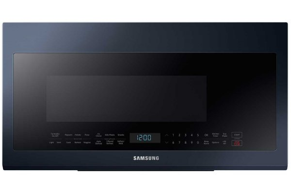 Large image of Samsung 2.1 Cu. Ft. Fingerprint Resistant Navy Steel BESPOKE Over-The-Range Microwave - ME21A706BQN/AA