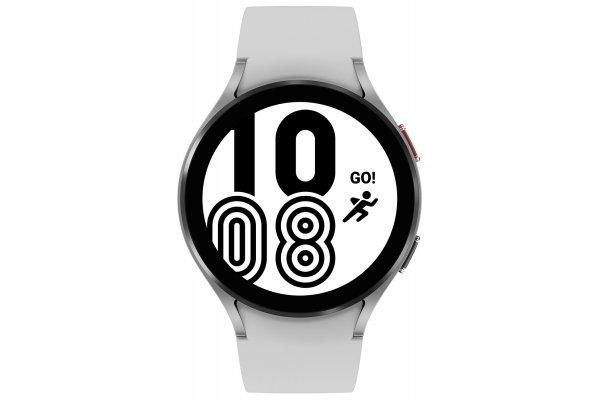 Large image of Samsung Silver Galaxy Watch 4 44mm Bluetooth Smartwatch - SM-R870NZSAXAA