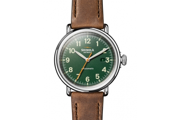 Large image of Shinola The Runwell Automatic 45mm Green Matte Dial Mens Watch - S0120183141