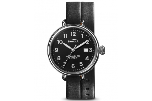 Large image of Shinola The Birdy Quartz Black/Bourbon Leather Strap 38mm Watch - S0120208732