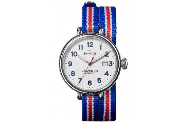 Large image of Shinola The Birdy Quartz Red/White/Blue Strap Watch, White Matte Velvet Dial, 38mm - S0120208733