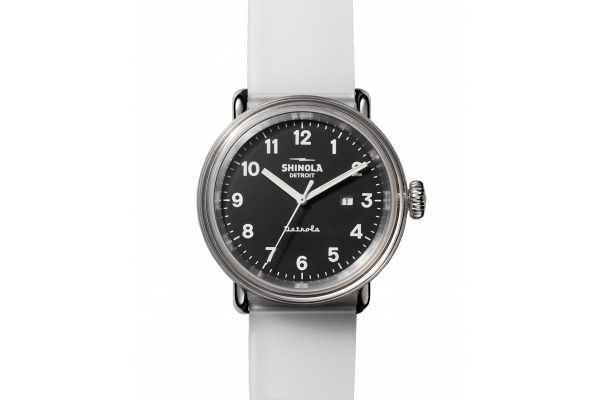 Large image of Shinola The Mood Detrola Quartz Clear Silicone Strap Watch, Mood Dial, 43mm - S0120183159