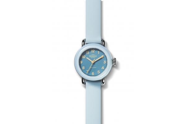 Large image of Shinola The Pee-Wee Detrola Quartz Light Blue Silicone Strap Watch, 25mm - S0120213528