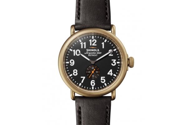 Large image of Shinola The Runwell Quartz Black Leather Strap 47mm Watch - S0120194492