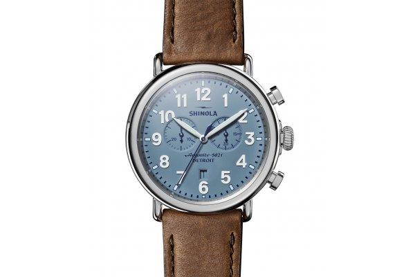 Large image of Shinola The Runwell Chrono British Tan Leather Strap Watch, Slate Blue Dial, 47mm - S0120223879