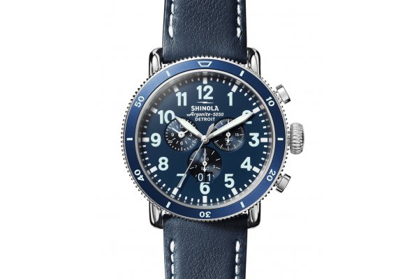 Large image of Shinola The Runwell Sport Chrono Midnight Blue Dial Watch, Navy Strap, 48mm - S0120194489