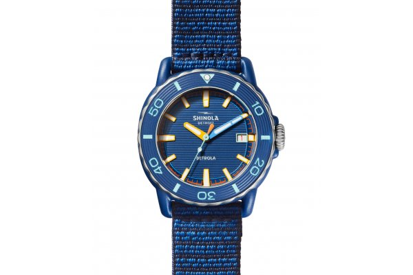 Large image of Shinola The Sea Creatures Blue Strap Watch, Blue Dial, 40mm - S0120225332
