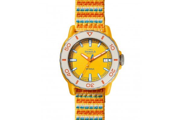 Large image of Shinola The Sea Creatures Multi Strap Watch, Yellow Dial, 40mm - S0120225333