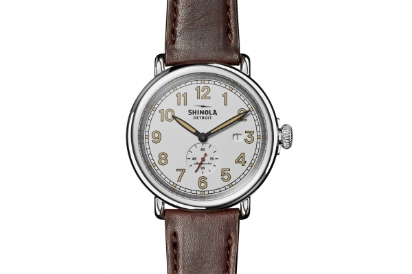 Large image of Shinola The Station Agent Automatic Brown Leather Watch, White Dial, 45mm - S0120203780