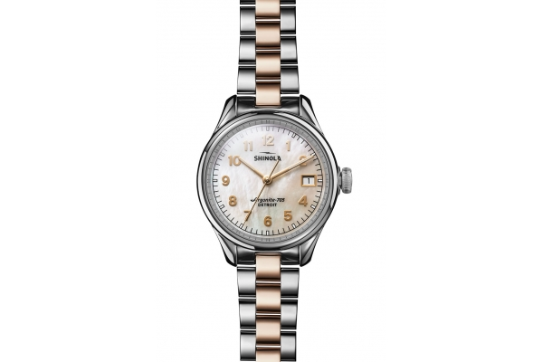 Large image of Shinola The Vinton 32mm White Mother Of Pearl Dial Unisex Watch - S0120194482
