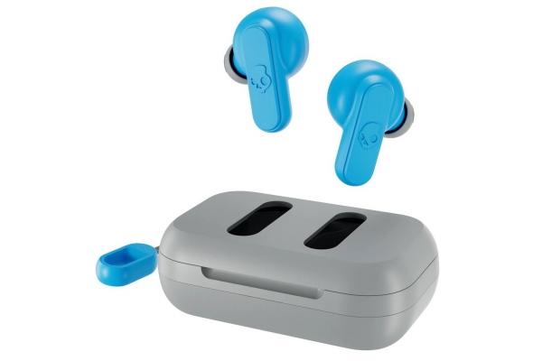 Large image of Skullcandy Dime True Wireless Light Grey/Blue Earbuds - S2DMW-P751