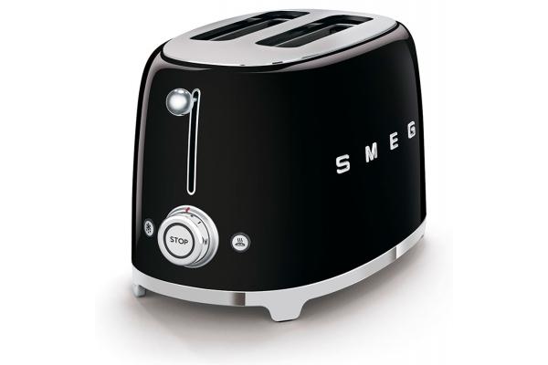 Large image of Smeg 50s Retro Style Aesthetic Black 2 Slice Toaster - TSF01BLUS