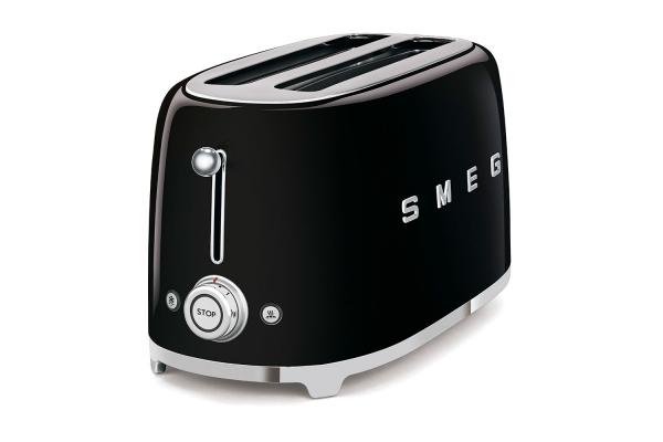 Large image of Smeg 50s Retro Style Aesthetic Black 4 Slice Toaster - TSF02BLUS