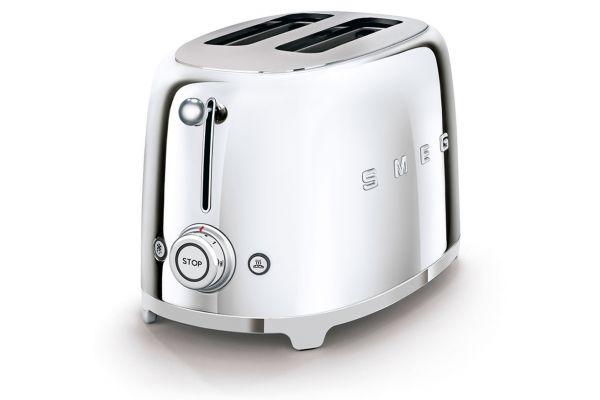 Large image of Smeg 50s Retro Style Aesthetic Chrome 2 Slice Toaster - TSF01SSUS