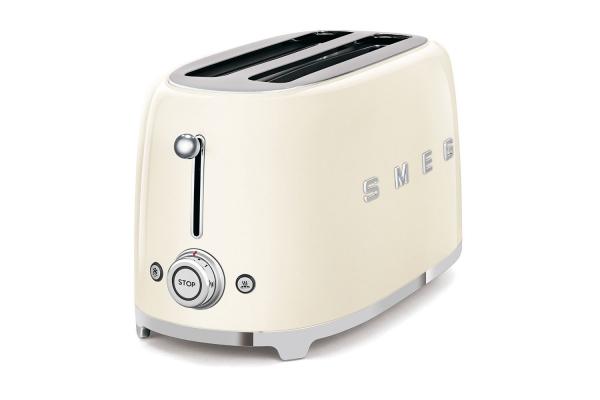 Large image of Smeg 50s Retro Style Aesthetic Cream 4 Slice Toaster - TSF02CRUS