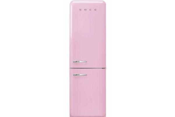 """Large image of Smeg 50's Retro Style Aesthetic 24"""" Pink Right-Hinge Bottom Freezer Refrigerator - FAB32URPK3"""