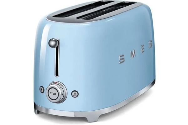 Large image of Smeg 50s Retro Style Aesthetic Pastel Blue 4 Slice Toaster - TSF02PBUS