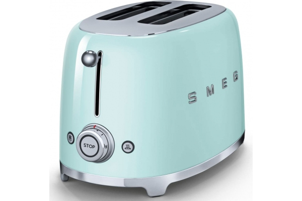 Large image of Smeg 50s Retro Style Aesthetic Pastel Green 2 Slice Toaster - TSF01PGUS