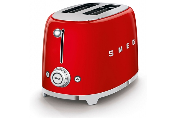 Large image of Smeg 50s Retro Style Aesthetic Red 2 Slice Toaster - TSF01RDUS