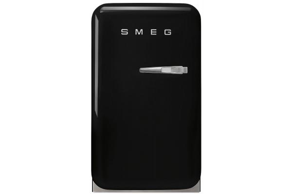 Large image of Smeg 50s Retro Style Black Left-Hinge Mini Refrigerator - FAB5ULBL3