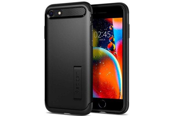 Large image of Spigen iPhone SE/6/7/8 (2020) Black Slim Armor Case - ACS00886