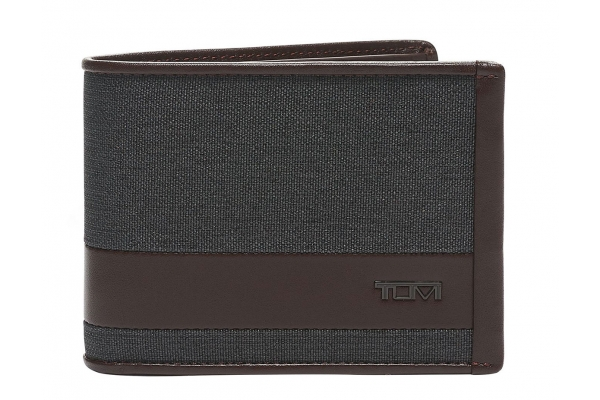 Large image of TUMI Alpha Grey/Brown Double Billfold - 135607-7514