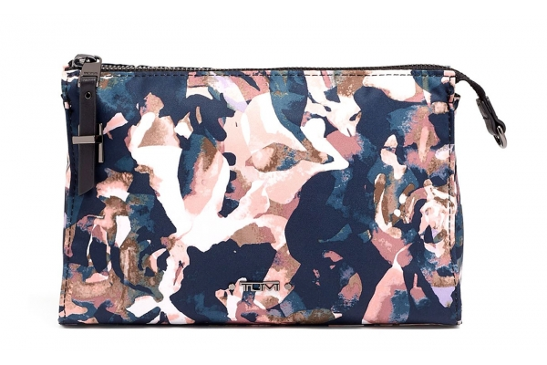 Large image of TUMI Voyageur Dusty Rose Floral Basel Small Triangle Pouch - 119710-9314