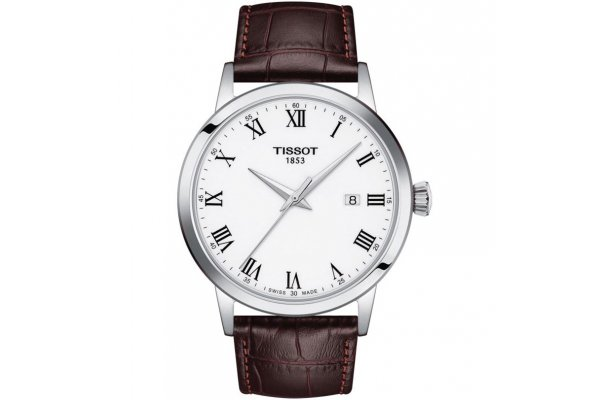 Large image of Tissot Classic Dream White Dial Watch, Brown Leather Strap, 42mm - T1294101601300