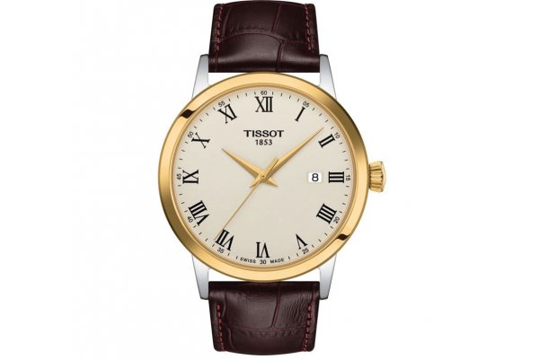 Large image of Tissot Classic Dream Ivory Dial Watch, Brown Leather Strap, 42mm - T1294102626300