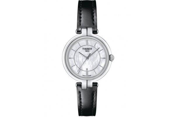 Large image of Tissot Flamingo Quartz White MOP Dial Watch, Black Leather Strap, 30mm - T0942101611100