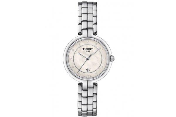 Large image of Tissot Flamingo Quartz White MOP Dial Watch, Stainless Steel Bracelet, 30mm - T0942101111601