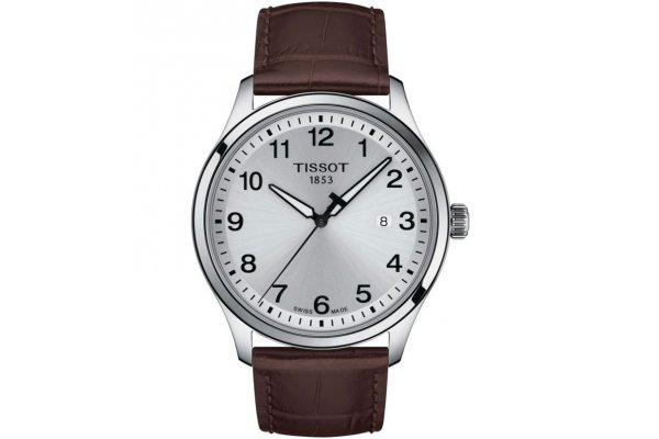 Large image of Tissot Gent XL Classic Silver Dial Watch, Brown Leather Strap, 42mm - T1164101603700
