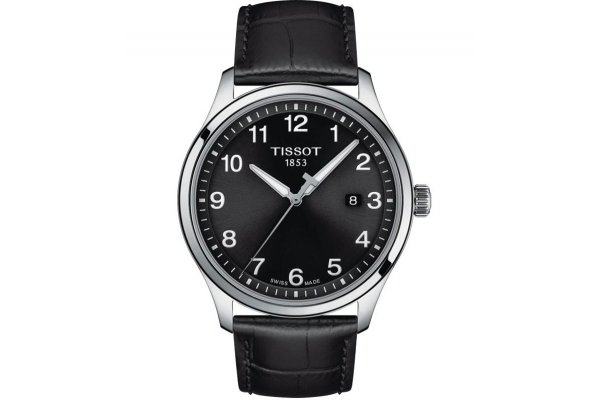 Large image of Tissot Gent XL Classic Black Dial Watch, Black Leather Strap, 42mm - T1164101605700