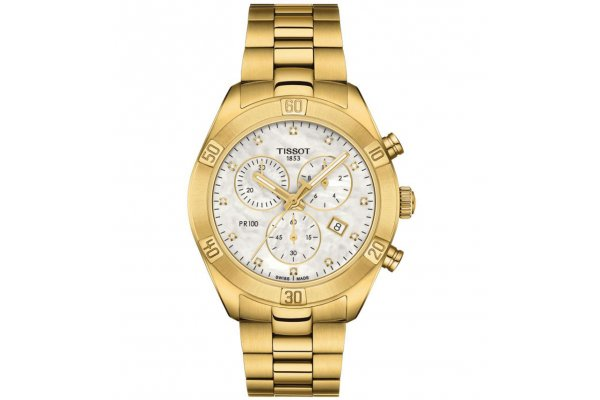 Large image of Tissot PR 100 Sport Chic Chronograph White MOP Dial Watch, Yellow Gold Bracelet, 38mm - T1019173311601