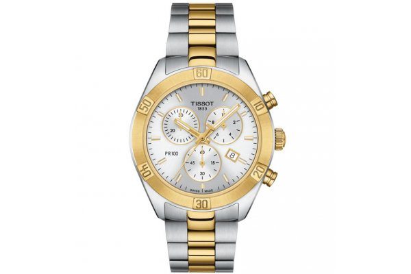 Large image of Tissot PR 100 Sport Chic Chronograph Two-Tone Watch, Silver Dial, 38mm - T1019172203100