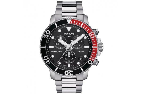 Large image of Tissot Seastar 1000 Quartz Chronograph Black Dial Watch, Stainless Steel Bracelet, 45.50mm - T1204171105101