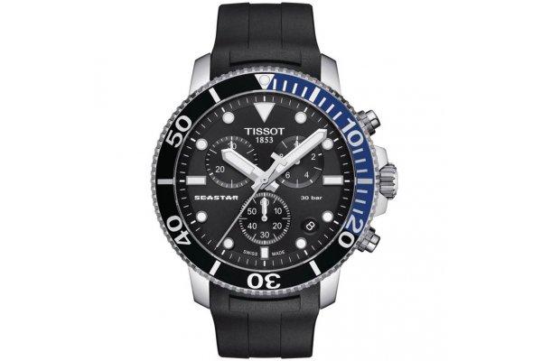 Large image of Tissot Seastar 1000 Quartz Chronograph Black Dial Watch, Black Rubber Strap, 45.50mm - T1204171705102
