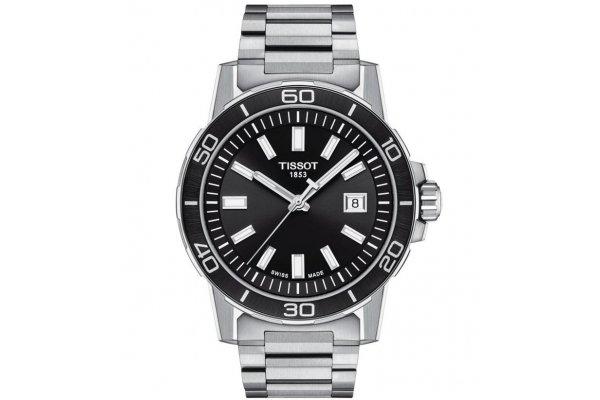Large image of Tissot Supersport Gent Black Dial Watch, Stainless Steel Bracelet, 44mm - T1256101105100