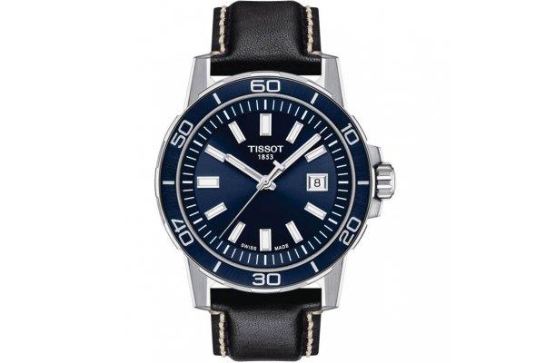Large image of Tissot Supersport Gent Blue Dial Watch, Black Leather Strap, 44mm - T1256101604100