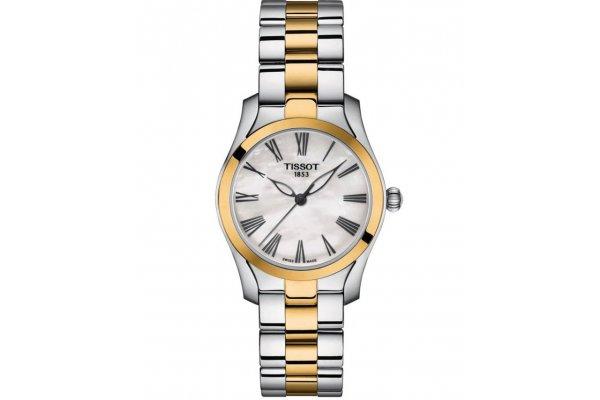 Large image of Tissot Classic T-Wave Quartz White MOP Dial Watch, Two-Tone Bracelet, 30mm - T1122102211300