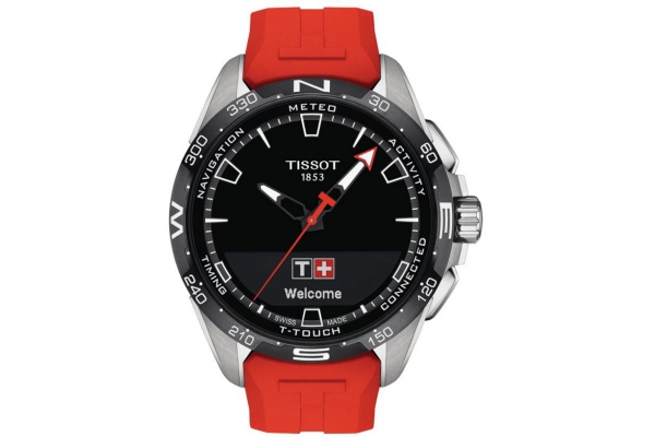 Large image of Tissot T-Touch Connect Solar Quartz Black Dial Red Silicone Strap Watch, 47.50mm - T1214204705101