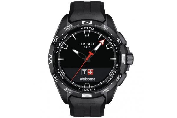 Large image of Tissot T-Touch Connect Solar Quartz Black Dial Black Rubber Strap Watch, 47.50mm - T1214204705103