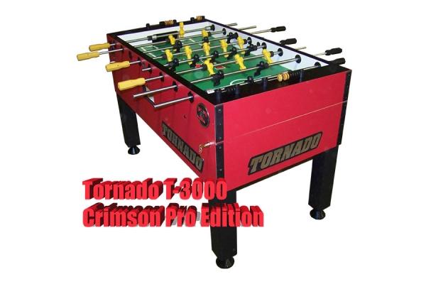 Large image of Tornado T-3000 Crimson Red Foosball Table - TPYMSTP3CR