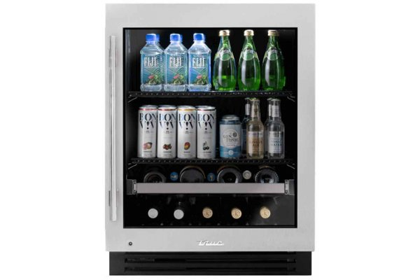 """Large image of True Residential ADA Height 24"""" Stainless Glass Right-Hinge Undercounter Beverage Center - TUBADA-24-RG-A~S"""