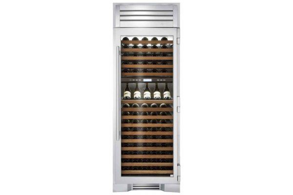 """Large image of True Residential 30"""" Stainless Glass Right-Hinge Dual Zone Wine Column - TR-30DZW-R-SG-A"""