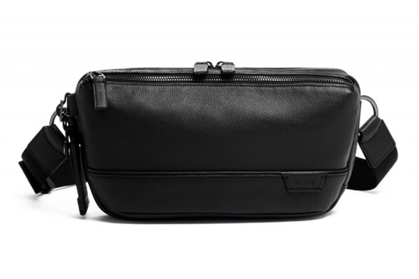 Large image of Tumi Harrison Black Leather Dante Utility Pouch - 1305411041