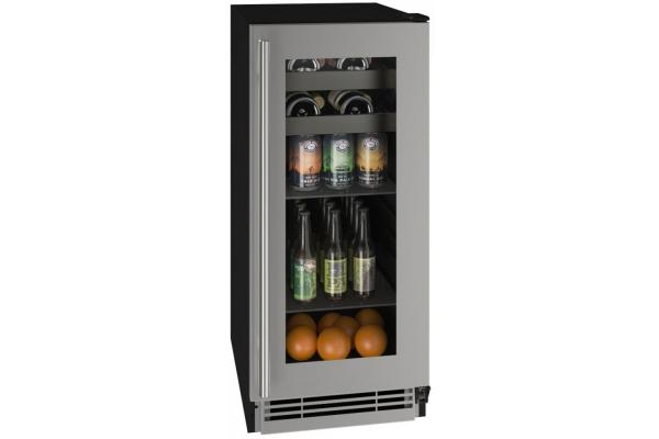 """Large image of U-Line 15"""" Stainless Frame Beverage Center - UHBV115-SG01A"""