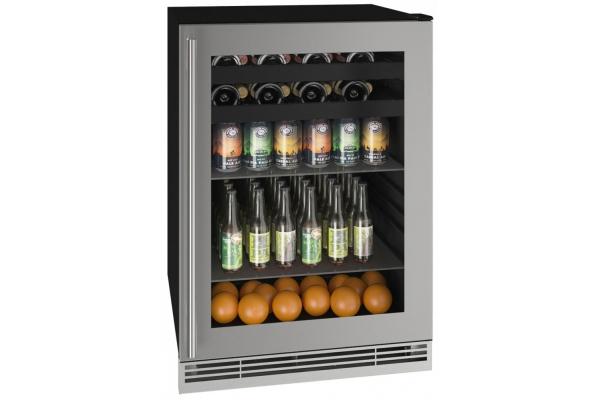 """Large image of U-Line 24"""" Stainless Frame Beverage Center - UHBV124-SG01A"""
