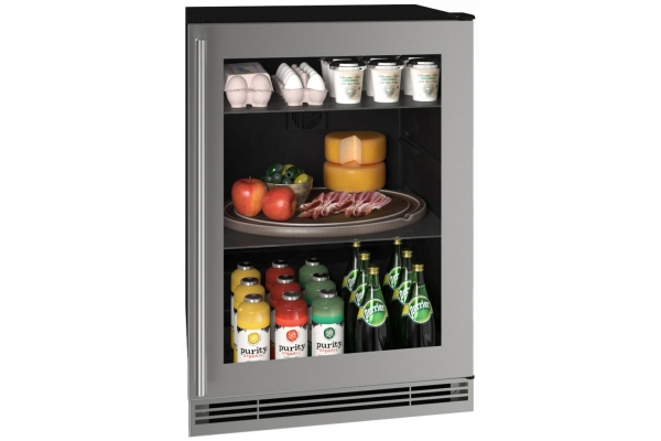 "Large image of U-Line 24"" Stainless Frame Refrigerator - UHRE124-SG01A"