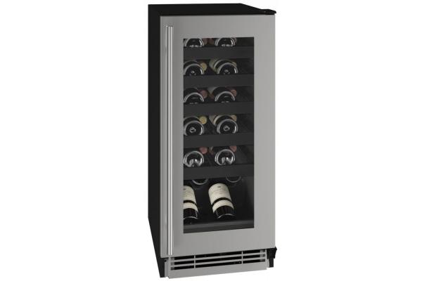 "Large image of U-Line 15"" Stainless Frame Wine Refrigerator - UHWC115-SG01A"
